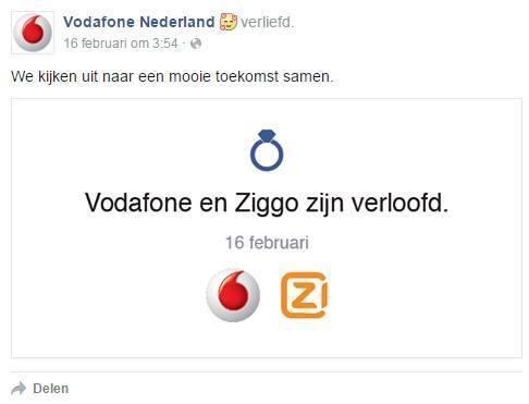 Vodafone en Ziggo gaan samen verder